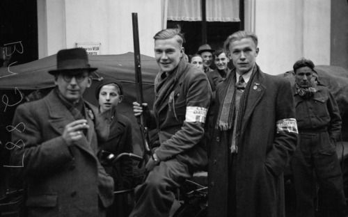 Dutch resistance fighters in Winterswijk, after its liberation by British forces.