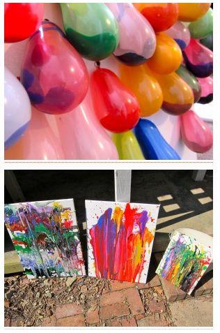 paint filled balloons + darts = fun art!