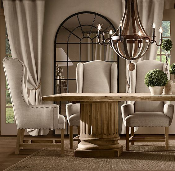 Belfort wingback upholstered dining chair fabric arm for Dining room wingback chairs