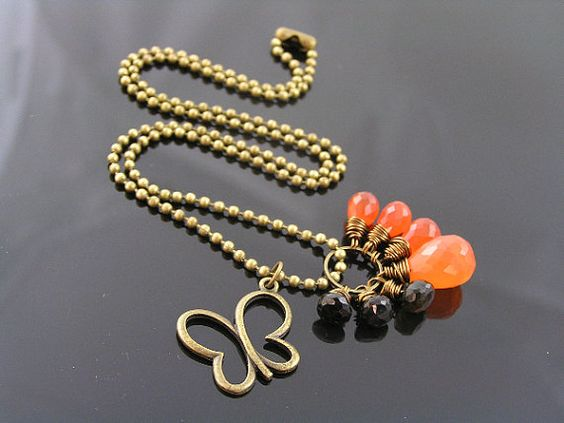 Tourmaline Carnelian and Butterfly Charm Necklace by WedunitJewels, $37.00
