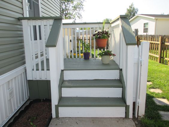 My side entrance deck porch re stained with two behr solid for Stained front porch