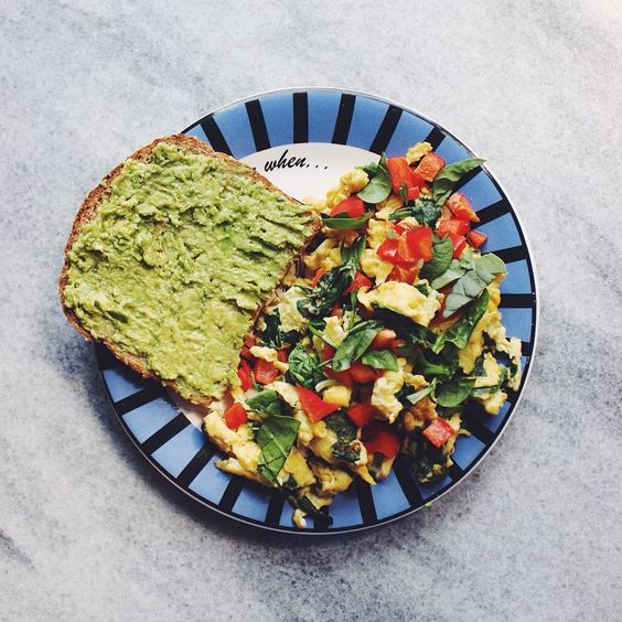 """@marensdelights's photo: """"Lunch from waaay earlier today Ezekiel bread with avocado, and scrambled eggs with spinach and red pepper"""""""