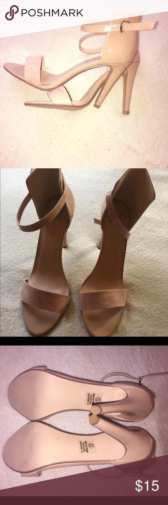 Beige strappy heels Beige heels with suede toe strap and patent leather back and ankle strap. Size 10 but runs small. More like 9. Never worn. Shoes Heels