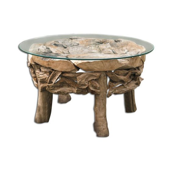 Uttermost Teak Root Natural Round Coffee Table ($856) ❤ liked on Polyvore featuring home, furniture, tables, accent tables, circular coffee table, uttermost tables, unfinished coffee table, uttermost coffee table and round teak coffee table