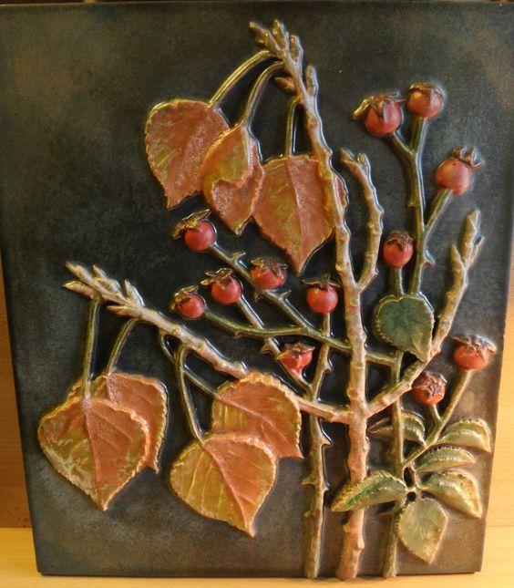 Wandbild - Keramikplatte - Reliefplatte Karlsruher Majolika Nr. 8054, 42 x 36
