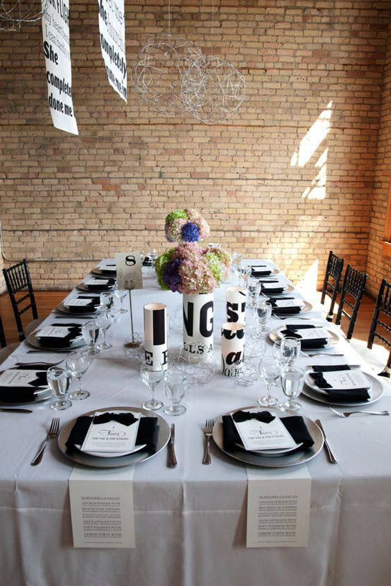 Typography tablescape.: Wedding Decoration, Table Setting, Wedding Flowers, Dinner Ideas, White Table