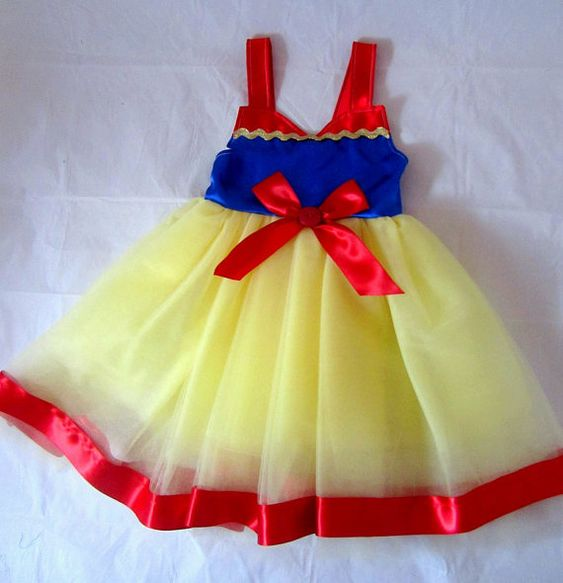 Snow White Birthday Party Princess Dress: red blue and yellow tutu & sparkle ric rak, Easy on and off wrap around dress side snap and ribbon