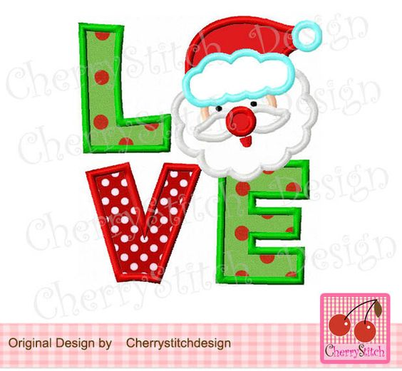 Santa Love,Santa Claus Applique,Christmas Embroidery Design-4x4 5x7 6x10-Machine Embroidery Applique Design by CherryStitchDesign on Etsy https://www.etsy.com/listing/210963831/santa-lovesanta-claus-appliquechristmas