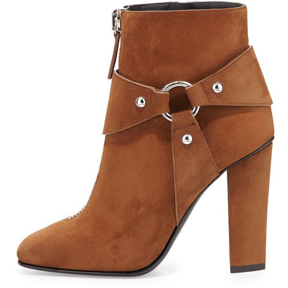 Giuseppe Zanotti Suede Zip-Front Ankle Bootie (1 623 AUD) ❤ liked on Polyvore featuring shoes, boots, ankle booties, harness boots, side zip boots, high heel booties, suede ankle booties and high heel ankle boots