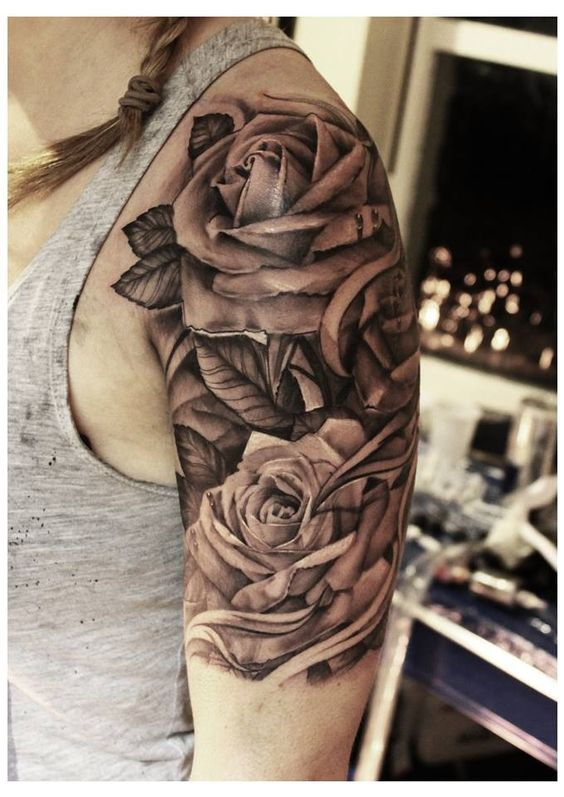 Rose tattoo - upper arm - by John Lewis of Life & Death ...