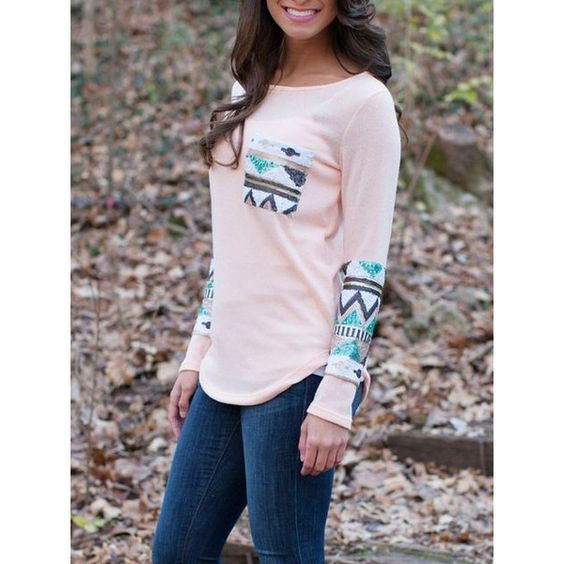 Long Sleeve Sequined Pocket T-shirt ($8.90) ❤ liked on Polyvore featuring tops, t-shirts, pink, long sleeve tops, pink long sleeve shirt, long sleeve shirts, sequin shirt and longsleeve t shirts