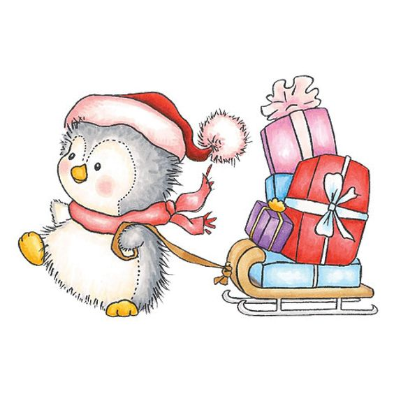 Penguins presents and sled on pinterest for Cute christmas tree drawing
