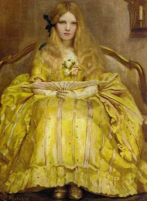 Margaret Fletcher - Portrait of a girl in a yellow dress, holding a fan, in an interior