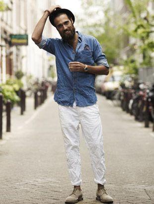 b/c men can wear white jeans too | man board | Pinterest | Nice ...