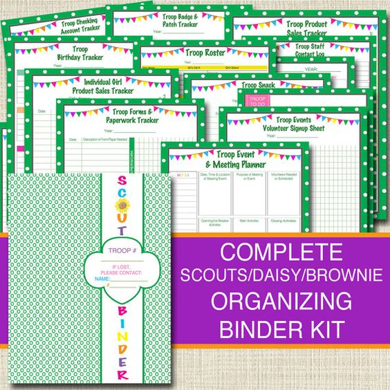Girl Scouts Organizing Binder Kit, INSTANT DOWNLOAD Troop Leader