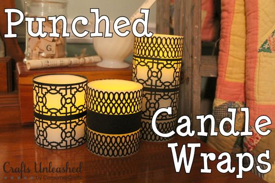Create these super simple and gorgeous candle wraps with cardstock and craft punches!