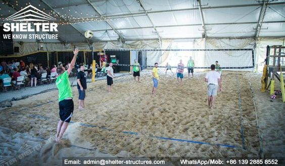 Indoor Volleyball Court Set Up On Beach Side Gym Center Sports Training Center Or Volleyball Club Indoor Volleyball Sports Tent Gym Center