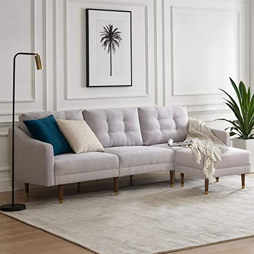 New Mopio Savannah Sectional Sofa Mid Century Modern Upholstered Couch Fabric Square Ottoman Tapered Gold Cap Legs Light Gray Online Totoppremium In 2020 Upholstered Couch Sofa Styling Grey Sofa Design