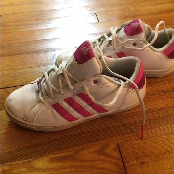 Adidas woman shoe Used white with pink stripes in ok condition needs cleaned and new laces would look fabulous  selling cheap Adidas Shoes Sneakers