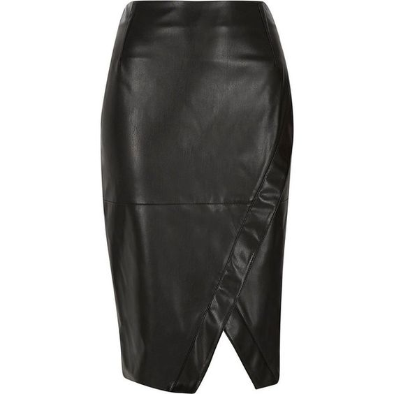 River Island Black leather-look wrap pencil skirt (£42) ❤ liked on Polyvore featuring skirts, black, tube / pencil skirts, women, faux leather pencil skirt, fitted pencil skirt, black skirt, knee length pencil skirt and tall skirts