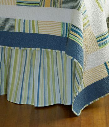 """Coastal Waters Striped Gathered Bed Skirt 18"""" Drop"""