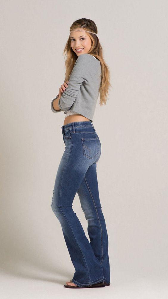 Barefoot style blonde bootcut cardigan flared footwear girl jeans jumper look women no ...