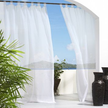 Commonwealth Home Fashions Outdoor Décor Escape Outdoor Sheer Velcro Tab Top Curtain Panel in White