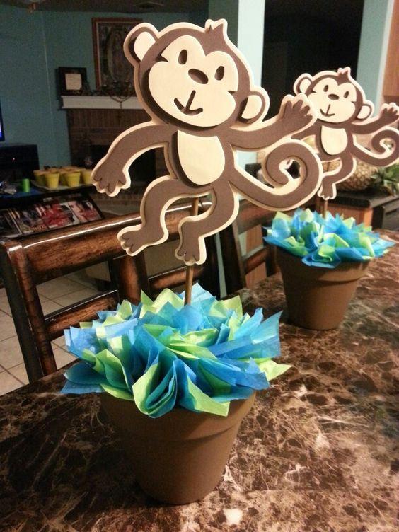 Monkey centerpiece for baby shower