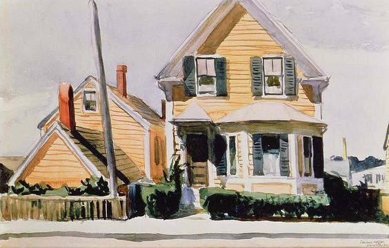 Edward Hopper (1882 — 1967, USA) The Yellow House. 1923 watercolor on paper. 30 x 45.7 cm.: