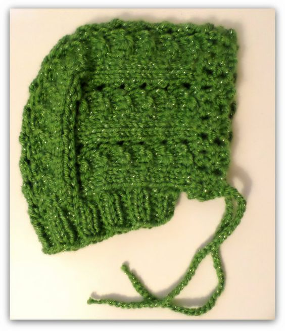 Handknit Sparkly Green Baby Bonnet by NortherNights on Etsy