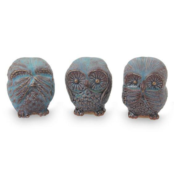 Handmade Turquoise Ceramic Owl Figurines (set of 3) - Turquoise Owl Trio | NOVICA