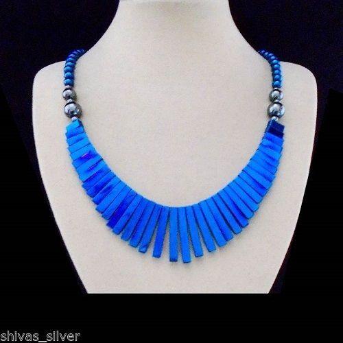Hämatit, blau, Halskette, Collier, Magnetverschluss