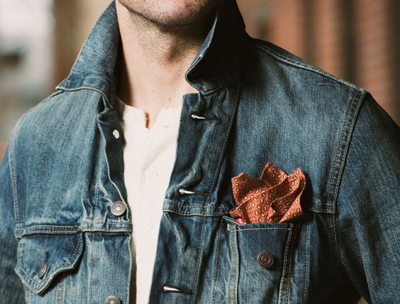 Adding a pocket square to a denim jacket: a small and unexpected detail that can add a huge amount of interest and polish to a look.