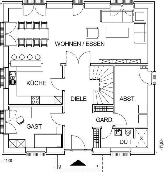 Stadtvilla Grundriss Erdgeschoss mit 96,12 m² Wohnfläche