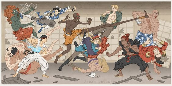 """Classic Video Game Characters as Japanese WoodblockArt """"street fighter"""""""