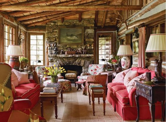 stunning log cabin living room | Beautiful, Feminine and Log cabin living on Pinterest