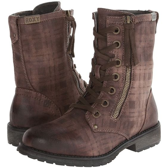 Roxy Providence Boot (Brown) Women's Boots ($46) ❤ liked on Polyvore featuring shoes, boots, brown, brown tassel boots, side zip boots, studded boots, side zipper boots and brown studded boots