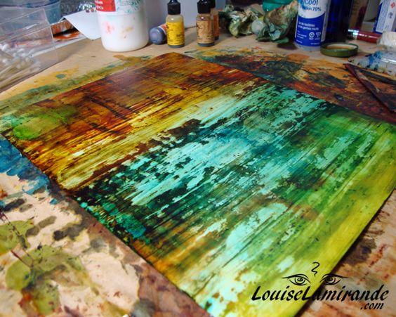 Tutoriel de peinture à l'encre à l'alcool et au médium acrylique sur papier Yupo. Photos et instructions. © 2014, Louise Lamirande