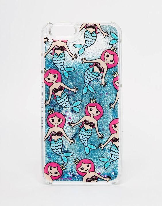 Imagen 1 de Funda para iPhone 6/6s con purpurina líquida y diseño de sirenas de Skinnydip