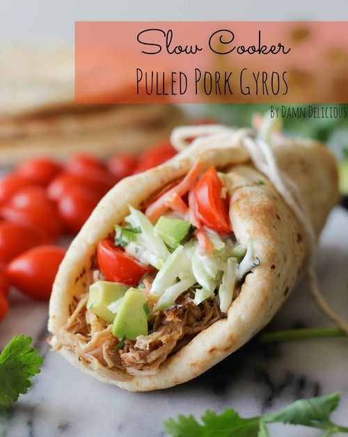 slow cooker pulled pork gyros