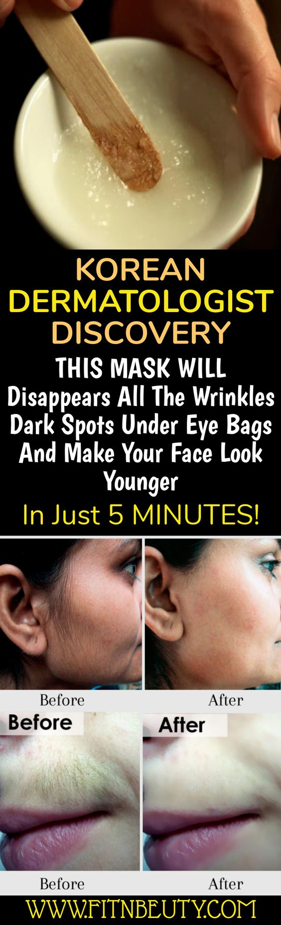 KOREAN DERMATOLOGIST DISCOVERY THIS MASK WILL Disappears All The Wrinkles Dark Spots Under Eye Bags And Make Your Face Look Younger In Just 5 MINUTES!