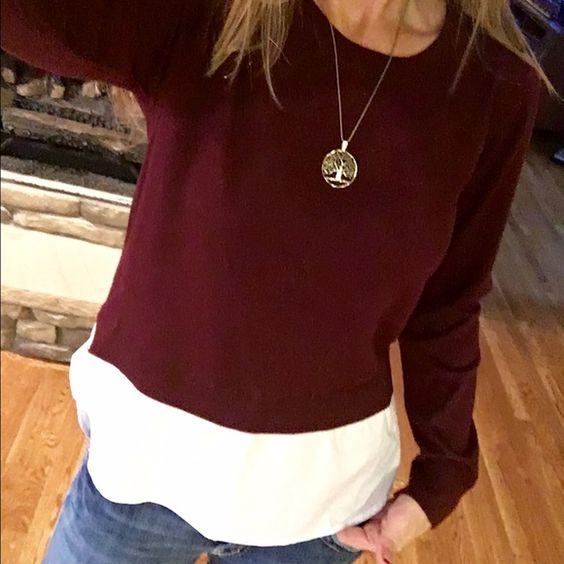 Boutique Maroon sweater L Brand new!  Beautiful boutique Maroon sweater with an attached crisp white tail. Gorgeous. I am selling bc the boutique sent me a large when I ordered a medium....and they never sent me the right size. So bummed. It is just too big for me.  Smoke and pet free home. I literally got this less than a months ago. Great with jeans! Sweaters Crew & Scoop Necks