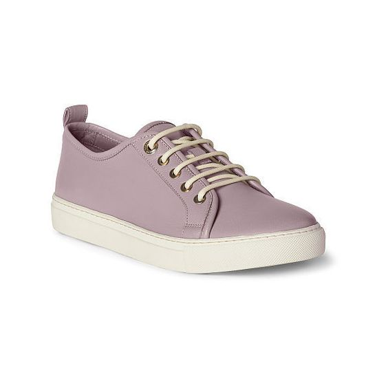 Ralph Lauren Simone Ii Nappa Sneaker ($550) ❤ liked on Polyvore featuring shoes, sneakers, lace up sneakers, round cap, ralph lauren trainers, low profile shoes and round toe shoes