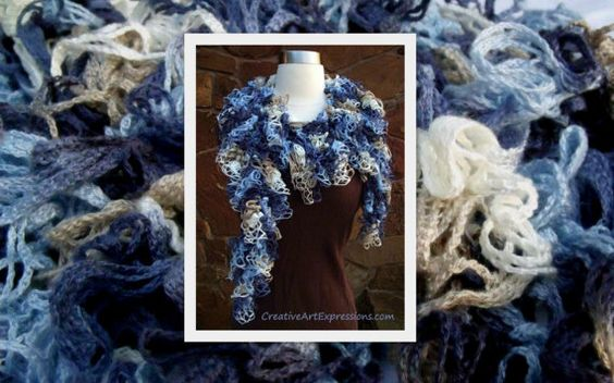 Adult Teen Scarf Crocheted Shades of Blue by Cr8tiveArtExpression