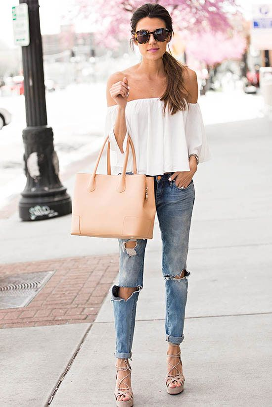 summer outfit, street chic style, casual outfit, night out outfit, date night outfit - white off the shoulder top, distressed boyfriend jeans, nude lace up platform sandals, nude tote bag, brown sunglasses: