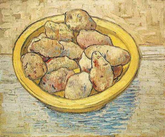 Schilderij Stilleven Aardappelen in een gele Dish