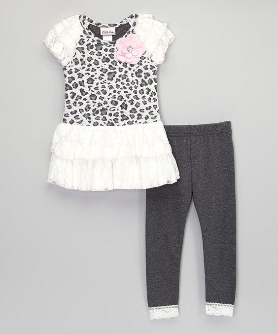 Look at this Gray Leopard Lace Top