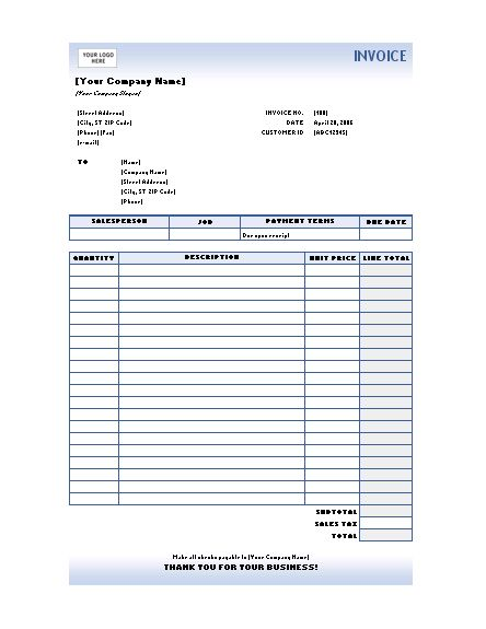 free excel invoices templates download type service
