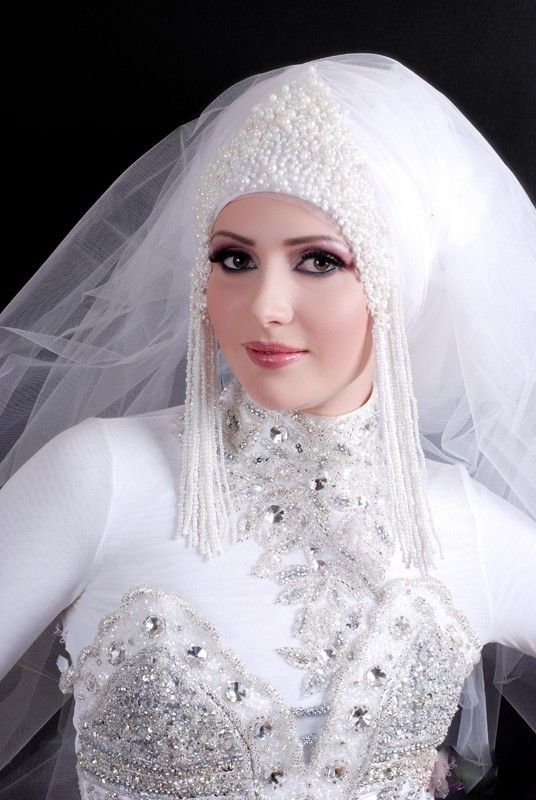 White Color Top Bridal Hijab Style