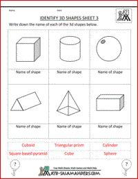 Printables 2nd Grade Geometry Worksheets identify 3d shapes printable geometry worksheets for 2nd graders graders
